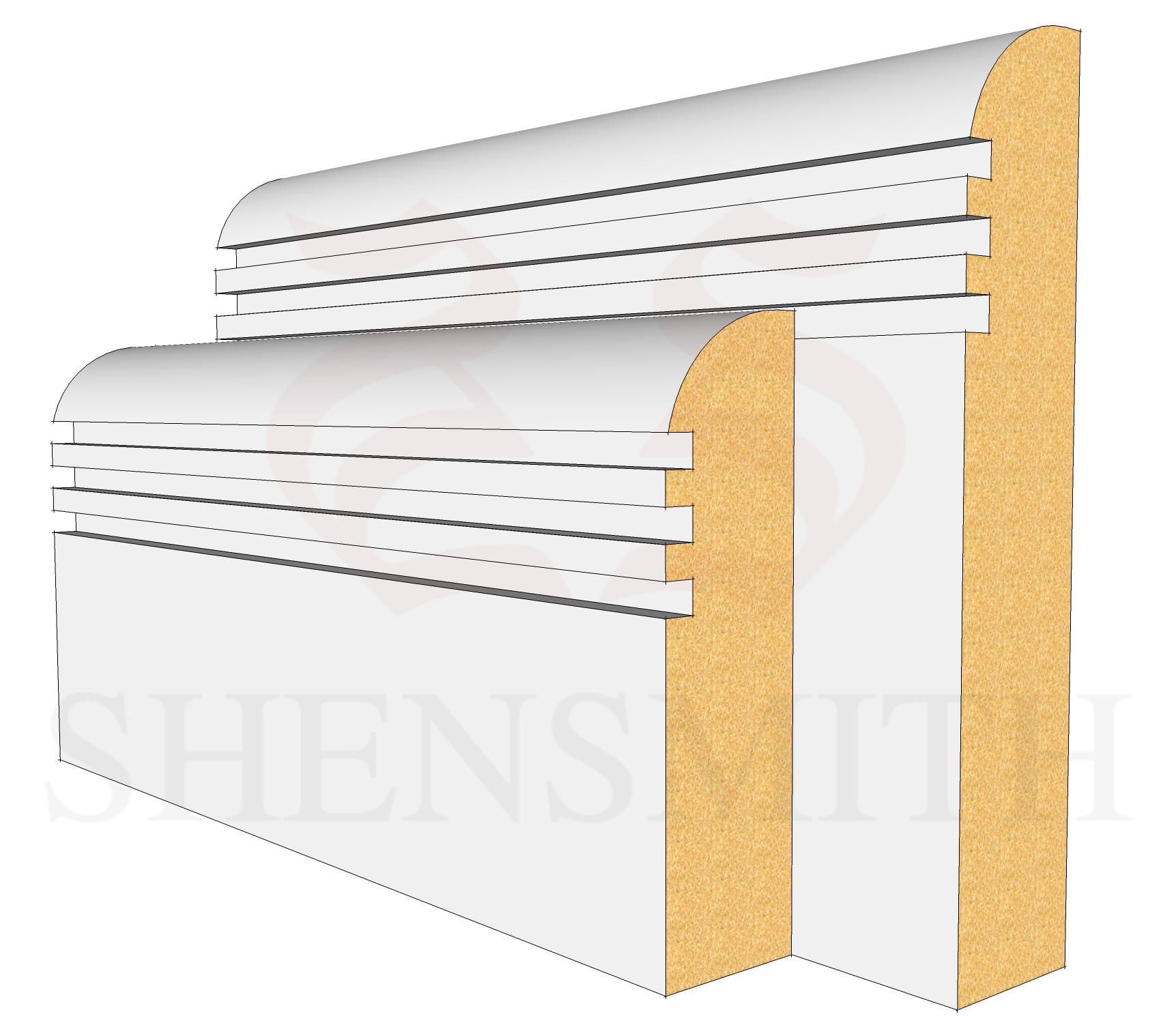 Bullnose rebated 3 MDF Skirting Board