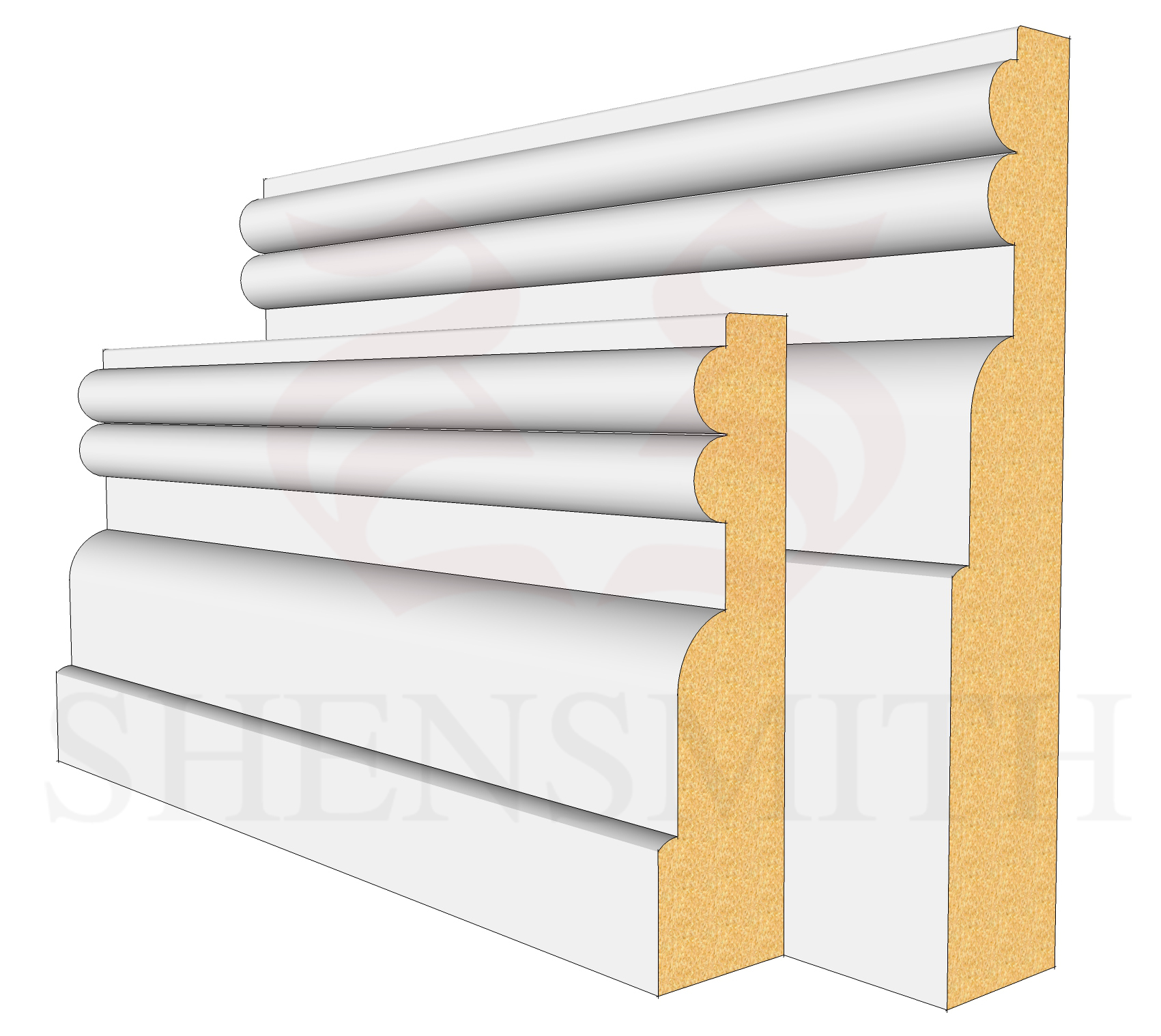 Reeded 2 MDF Skirting Board