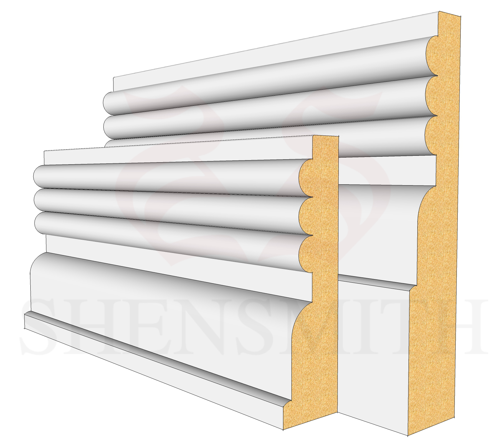 Reeded 3 Profile Skirting Board