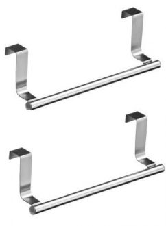 2-x-Over-Kitchen-Cabinet-Door-Tea-Hand-Towel-Rail-Hanger-Holder-Storage-23cm-New-0